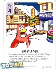 Topps Club Penguin Card-Jitsu Game Basic Series 1 Single Card #15 Ski Village
