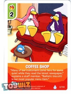 Topps Club Penguin Card-Jitsu Game Basic Series 1 Single Card #2 Coffee Shop