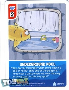 Topps Club Penguin Card-Jitsu Game Basic Series 1 Single Card #28 Underground Pool