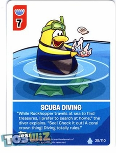 Topps Club Penguin Card-Jitsu Game Basic Series 1 Single Card #29 Scuba Diving