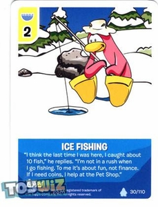 Topps Club Penguin Card-Jitsu Game Basic Series 1 Single Card #30 Ice Fishing