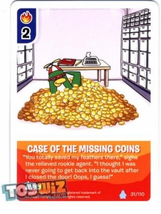 Topps Club Penguin Card-Jitsu Game Basic Series 1 Single Card #31 Case of the Missing Coins