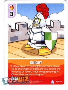Topps Club Penguin Card-Jitsu Game Basic Series 1 Single Card #35 Knight