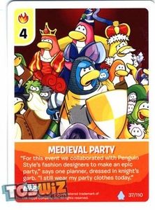Topps Club Penguin Card-Jitsu Game Basic Series 1 Single Card #37 Medieval Party