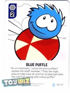 Topps Club Penguin Card-Jitsu Game Basic Series 1 Single Card #38 Blue Puffle