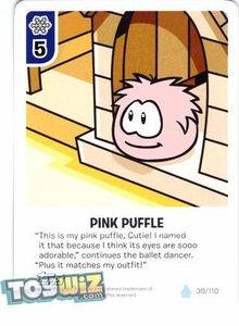 Topps Club Penguin Card-Jitsu Game Basic Series 1 Single Card #39 Pink Puffle