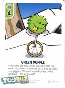 Topps Club Penguin Card-Jitsu Game Basic Series 1 Single Card #40 Green Puffle