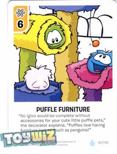 Topps Club Penguin Card-Jitsu Game Basic Series 1 Single Card #41 Puffle Furniture