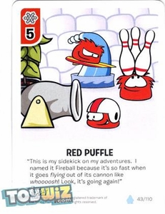Topps Club Penguin Card-Jitsu Game Basic Series 1 Single Card #43 Red Puffle