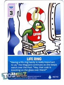 Topps Club Penguin Card-Jitsu Game Basic Series 1 Single Card #48 Life Ring