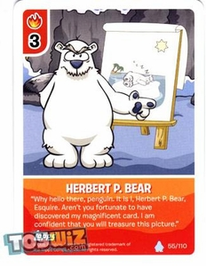 Topps Club Penguin Card-Jitsu Game Basic Series 1 Single Card #55 Herbert P. Bear