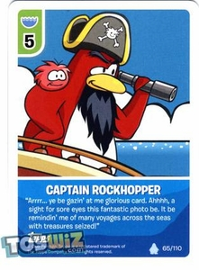 Topps Club Penguin Card-Jitsu Game Basic Series 1 Single Card #65 Captain Rockhopper