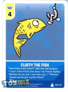 Topps Club Penguin Card-Jitsu Game Basic Series 1 Single Card #69 Fluffy the Fish