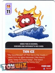 Topps Club Penguin Card-Jitsu Game Basic Series 1 Single Foil Power Card #75 Thin Ice