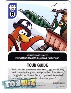 Topps Club Penguin Card-Jitsu Game Basic Series 1 Single Foil Power Card #80 Tour Guide