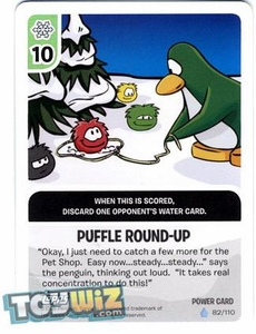 Topps Club Penguin Card-Jitsu Game Basic Series 1 Single Foil Power Card #82 Puffle Round-up