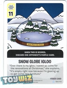 Topps Club Penguin Card-Jitsu Game Basic Series 1 Single Foil Power Card #84 Snow Globe Igloo