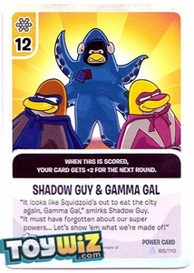 Topps Club Penguin Card-Jitsu Game Basic Series 1 Single Foil Power Card #85 Shadow Guy & Gamma Gal