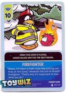 Topps Club Penguin Card-Jitsu Game Basic Series 1 Single Foil Power Card #89 Fire Fighter