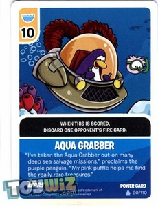Topps Club Penguin Card-Jitsu Game Basic Series 1 Single Foil Power Card #90 Aqua Grabber BLOWOUT SALE!