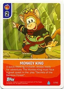 Topps Club Penguin Card-Jitsu Game Water Series 4 Single Card #1 Monkey King