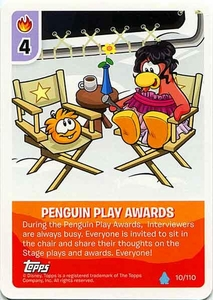 Topps Club Penguin Card-Jitsu Game Water Series 4 Single Card #10 Penguin Play Awards