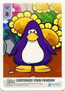 Topps Club Penguin Card-Jitsu Game Water Series 4 Single Customize Your Penguin Card #102 Flowers - Purple Penguin