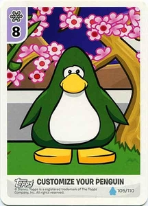 Topps Club Penguin Card-Jitsu Game Water Series 4 Single Customize Your Penguin Card #105 Secrets of the Bamboo Forest - Dark Green Penguin