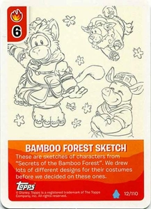 Topps Club Penguin Card-Jitsu Game Water Series 4 Single Card #12 Bamboo Forest Sketch