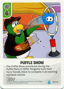 Topps Club Penguin Card-Jitsu Game Water Series 4 Single Card #18 Puffle Show