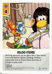 Topps Club Penguin Card-Jitsu Game Water Series 4 Single Card #22 Igloo Items