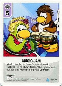 Topps Club Penguin Card-Jitsu Game Water Series 4 Single Card #23 Music Jam