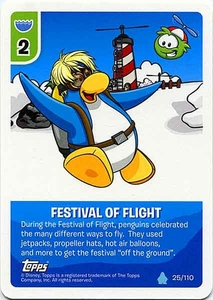 Topps Club Penguin Card-Jitsu Game Water Series 4 Single Card #25 Festival Of Flight