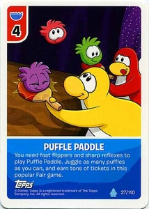 Topps Club Penguin Card-Jitsu Game Water Series 4 Single Card #27 Puffle Paddle