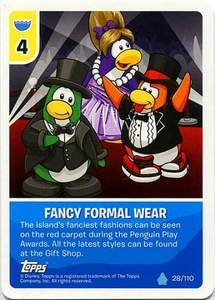 Topps Club Penguin Card-Jitsu Game Water Series 4 Single Card #28 Fancy Formal Wear