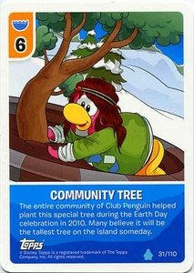 Topps Club Penguin Card-Jitsu Game Water Series 4 Single Card #31 Community Tree