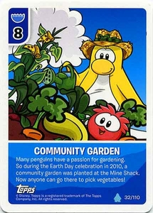 Topps Club Penguin Card-Jitsu Game Water Series 4 Single Card #32 Community Garden