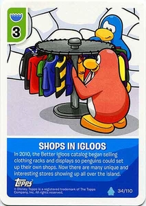 Topps Club Penguin Card-Jitsu Game Water Series 4 Single Card #34 Shops In Igloos