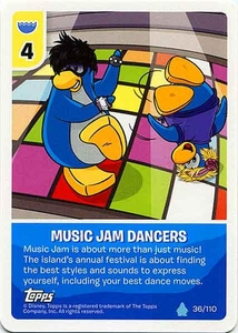 Topps Club Penguin Card-Jitsu Game Water Series 4 Single Card #36 Music Jam Dancers