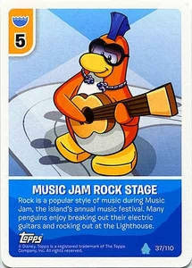 Topps Club Penguin Card-Jitsu Game Water Series 4 Single Card #37 Music Jam Rock Stage
