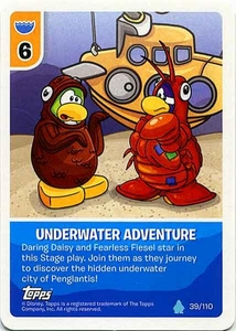 Topps Club Penguin Card-Jitsu Game Water Series 4 Single Card #39 Underwater Adventure
