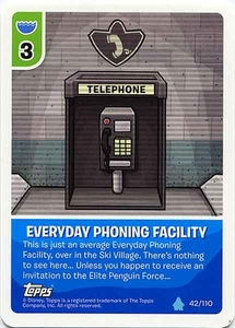 Topps Club Penguin Card-Jitsu Game Water Series 4 Single Card #42 Everyday Phoning Facility