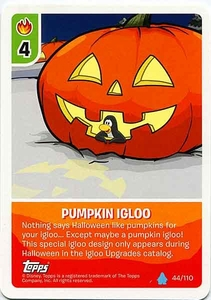 Topps Club Penguin Card-Jitsu Game Water Series 4 Single Card #44 Pumpkin Igloo