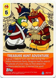 Topps Club Penguin Card-Jitsu Game Water Series 4 Single Card #45 Treasure Hunt Adventure