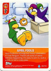 Topps Club Penguin Card-Jitsu Game Water Series 4 Single Card #48 April Fools