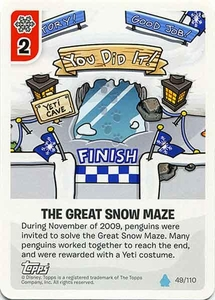 Topps Club Penguin Card-Jitsu Game Water Series 4 Single Card #49 The Great Snow Maze
