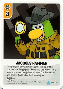 Topps Club Penguin Card-Jitsu Game Water Series 4 Single Card #50 Jacques Hammer