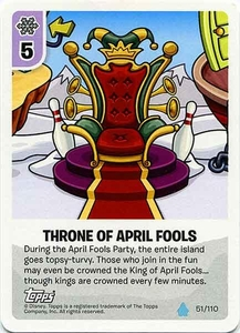 Topps Club Penguin Card-Jitsu Game Water Series 4 Single Card #51 Throne of April Fools'
