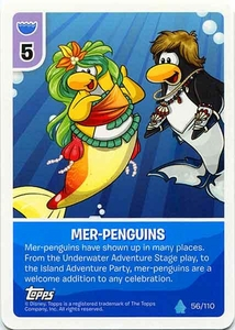 Topps Club Penguin Card-Jitsu Game Water Series 4 Single Card #56 Mer-Penguins