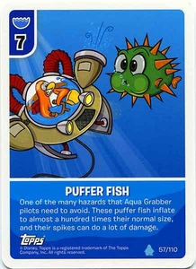 Topps Club Penguin Card-Jitsu Game Water Series 4 Single Card #57 Puffer Fish
